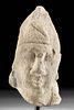 Cypriot Limestone Head of Beardless Male w/ Cap
