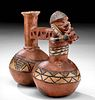 Inca Twin-Lobed Polychrome Whistling Vessel