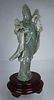 Chinese Carved Jade Guanyin on Wood Stand