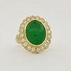 14K Gold Cabochon Emerald & Diamond Ring