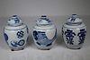 (3) Chinese Blue/White Porcelain Lidded Jars