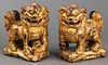 Chinese Carved Giltwood Foo Dogs, Pair