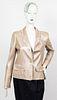 Chanel Lambskin Leather And Tweed Trim Blazer