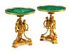 A Pair of Louis XVI Style Gilt Bronze and Malachite Tables