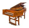 A Burl Walnut and Satinwood Two-Manual Harpsichord by Thomas Goff & Joseph Cobby