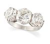 A DIAMOND THREE STONE RING, graduated old-cut diamonds in d