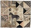 Folk Art Hooked Rug with Horse and Hearts