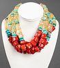 Iradj Moini Turquoise, Coral & Quartz Necklace