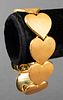 Vintage 18K Yellow Gold Florentine Heart Bracelet