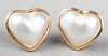 18K Yellow Gold Heart-Shaped Mabe Pearl Earrings