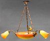 Muller Freres Art Deco Three-Arm Glass Chandelier