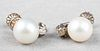 Vintage 14K White Gold Pearl & Diamond Earrings
