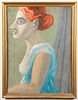 """Signed Moore """"Portrait of a Woman"""" Oil on Board"""