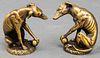 """Diminutive Bronze """"Greyhound"""" Sculptures, Pair"""