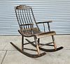 Large Chinese Painted Wood Rocking Chair