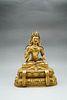 A Gilding Copper Sitting Guanyin Bodhisattva Statue