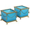 Exquisite Pair of French Ormolu Mounted Turquoise Blue Opaline Glass Jardinieres