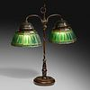 Tiffany Studios, Linenfold double student lamp