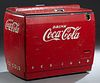 Large Vintage Coca Cola Cooler Machine, the top with front and rear lifting doors, in original paint, H.- 38 in., W.-44 in., D.- 26 in.