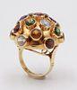 "18K Yellow Gold Semiprecious Stone ""Sputnik"" Ring"