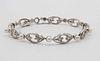 White Gold Diamond Pearl Oval Link Bracelet