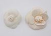 Channel White Silk Camellia Flower Brooch