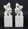 Pair of Blanc de Chine Seal-Form Models of Lions