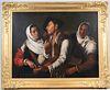 Oil on Canvas, Three Figures, Continental School