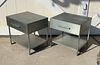 Pair of Industrial Nightstands/End Tables in Brushed Metal
