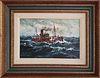 """Jack L. Gray Oil on Canvas Board, """"Steam Trawler At Sea"""""""