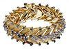 18k Bi-Color Gold and Emerald Leaf-form Bracelet