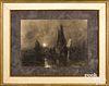 Charcoal moonlit harbor scene, signed Claude Mone