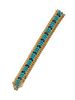 VINTAGE, YELLOW GOLD, TURQUOISE AND SAPPHIRE BRACELET