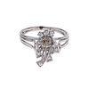 Anillo con diamante en plata paladio. 1 diamante capuchino corte antiguo 0.18 ct. 8 diamantes corte 8 x 8. Talla: 8. Peso: 3...