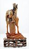 Chinese Horn Carved Emperor Horseback Early 20th C