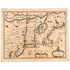 c. 1676 Hand-Colored JOHN SPEED Engraved Map: A Map of New England and New York