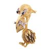 An 18K Vintage Whimsical Pelican with Fish Brooch