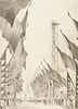 """Leon Pescheret """"Avenue of Flags Chicago Fair 1934"""" Graphite Drawing"""
