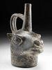 Inca Pottery Alpaca Head Stirrup Vessel