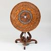 Continental Specimen Wood and Mother-of-Pearl Inlaid Tilt-Top Table, Possibly German