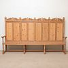 Large Carved Pine Hall Bench
