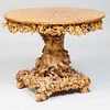 Unusual Continental Burl Rootwood, Walnut and Bird's Eye Maple Parquetry Center Table