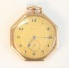 Elgin 14 Karat Gold Open Face Pocket Watch 19 jewel 42.5 millimeter, total weight 53 grams