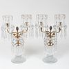 Pair of American Gilt-Metal-Mounted Cut Glass Two-Light Candelabra