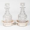 Pair of Silver Plate Bottle Coasters and a Pair of Cut Glass Decanters and Stoppers