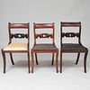 Assembled Set of Seven Federal Carved Mahogany Side Chairs
