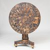 Rare Classical Painted and Decoupaged Tilt-Top Center Table