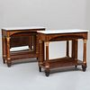 Pair of Federal Mahogany, Birch and Parcel-Gilt Pier Tables