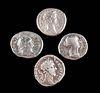 4 Roman Silver Coins - Marcus Aurelius, Titus, Commodus