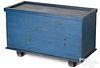 Unusual painted pine slide lid blanket chest